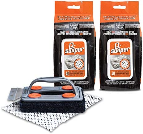 Q Swiper BBQ Grill Cleaner Set 1 Grill Brush with Scraper and 80 BBQ Grill Cleaning Wipes Bristle product image