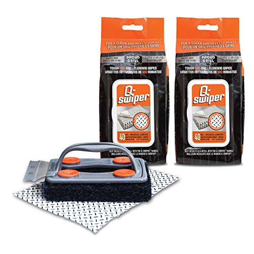 Q-Swiper BBQ Grill Cleaner Set - 1 Grill Brush with Scraper and 80 BBQ Grill Cleaning Wipes | Bristle Free & Wire Free | Safe Way to Remove Grease and Grime for A Clean and Healthy Grill!