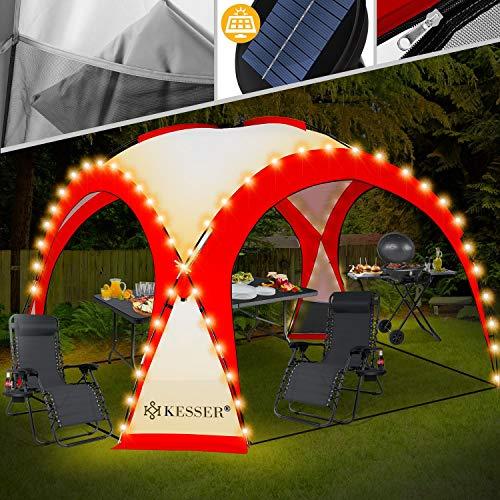 Kesser® LED Event Pavillon inkl. Solarmodul Designer Dome Gartenzelt 3,6 x 3,6m Camping Garten Partyzelt Eventzelt Festzelt Eventpavillon mit Beleuchtung wasserabweisend UV-Schutz Strandzelt Rot