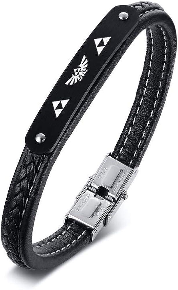 VNOX Stainless Steel Norse Vikings Bracelet Odin Viking Symbol Leather Cuff Braided Bracelet for Men Boy,21cm