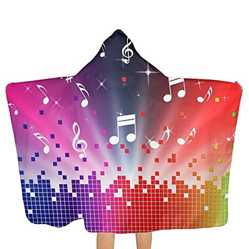 VVSADEB Toallas con capucha para niños con música colorida, ultra suaves, extragrandes, de secado rápido, toallas de baño de playa con capucha para niños y niñas (tamaño único)