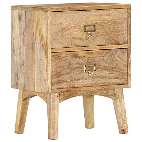vidaXL Mangoholz Massiv Nachttisch mit 2 Schubladen Nachtschrank Nachtkonsole Nachtkommode Schlafzimmer Kommode Schrank 40x35x55cm