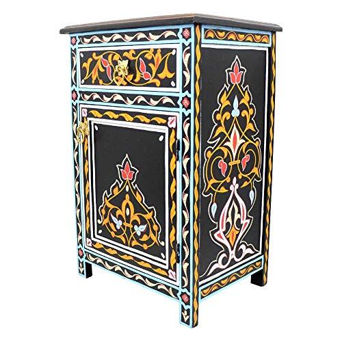 L´Orient Marokkanische Kommode Menara aus Vollholz Schwarz Handbemalt H 68 cm 1 Schublade 1 Tür | Antik Vintage Orientalische Sideboard Anrichte | Echtes Kunsthandwerk aus Marrakesch