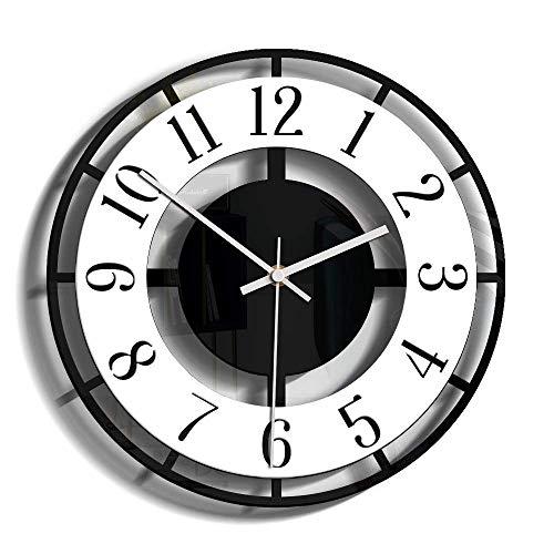 MQQ Decoración del Hogar Creativo Relojes De Pared 11in Transparente Acrílico Retro Reloj Vida Mute Pared Reloj Sala De Estar Dormitorio En Blanco Y Negro Redondo Redondo Relojes Creativos