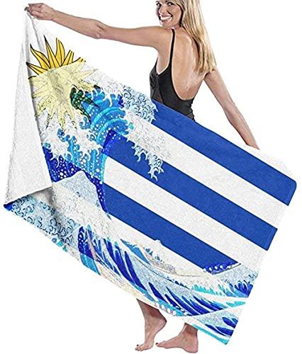 BAOYUAN0 Toalla de Playa para Mujer Bandera de Uruguay y Manta de Playa Kanagawa Wave Toalla de baño Absorbente 80 * 130cm Accesorios para Acampar Manta de Picnic