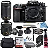 Nikon D7500 20.9MP DSLR Digital Camera w/AF-P DX NIKKOR 18-55mm f/3.5-5.6G VR & AF-P DX 70-300mm f/4.5-6.3G ED Lens + SanDisk 32GB Memory Card + Accessory Bundle (Black)