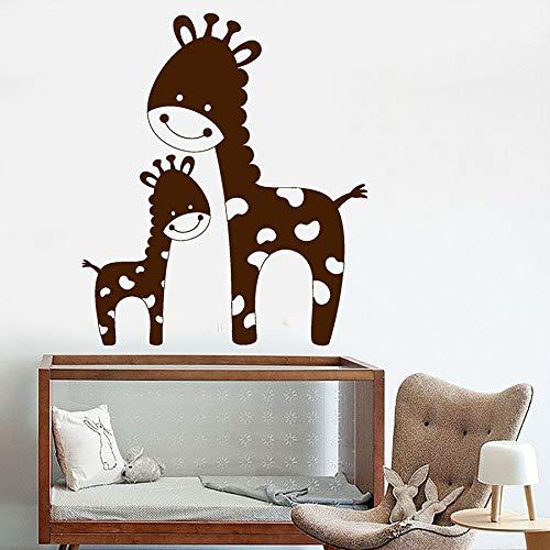 Divertida jirafa calcomanía de pared familia Animal africano vinilo pared pegatina niños dormitorio guardería decoración del hogar dibujos animados ventana calcomanía