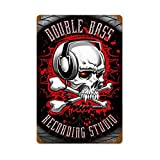 ABLERTRADE DHArt Metal Tin Sign Double Bass Recording Studio Skull Vintage Look Rust Man Cave Wall Plque 8X12 Inch