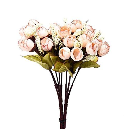 ZTTLOL 2 Bouquet 30 Kopf Künstliche Blumen Silk Rosen Für Hochzeit Hand Blume Dekoration Brautstrauß Dekoration, 04