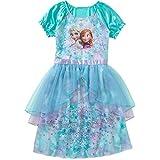 DISNEY Frozen - Vestido de fantasía para niña con Anna Elsa, 7-8, azul