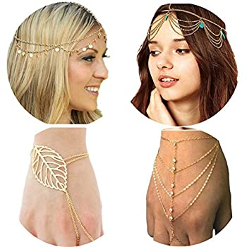 PPX 4 Gold Head Chain Set Bohemian Style Circle Sequins Chain Jewelry Forehead Hair Band Clasp Decorations and Hair Band Tassels Pearl and Crystal Bracelet Slave Finger Ring Hand Harness with Box