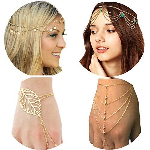 PPX 2 pièces Lady Tassel Chaîne en métal tête Coiffe et 2 pièces bracelet femme Mode Métal Strass Bijoux Bandeau Tête pièce Bandeau Cheveux Avec Boîte