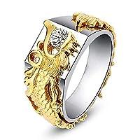 Botreelife リング 指輪 ラインストーン ドラゴンの頭型 手飾り 結婚 ゴールドカラー キラキラ レディース ジュエリー ギフト (約51.9*16.5mm)