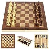 XIUWOUG Juego De ajedrez Madera Plegable Tablero ajedrez,Juego De ajedrez Y Borradores 3 En 1,Damas Backgammon, Juegos Internacional para Actividades Familiares Fiesta,Marrón,29X29CM