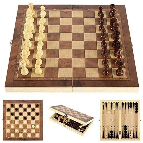 XIUWOUG Juego De ajedrez Madera Plegable Tablero ajedrez,Juego De ajedrez Y Borradores 3 En 1,Damas Backgammon, Juegos Internacional para Actividades Familiares Fiesta,Marrón,44X44CM