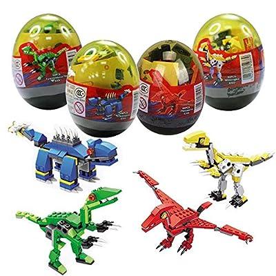 Anditoy 4 Pack Dinosaur Building Blocks in Jumbo Easter Eggs for Kids Boys Girls Easter Basket Stuffers Fillers Gifts