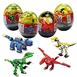 Anditoy 4 Pack Dinosaur Building Blocks Toys in Jumbo Eggs for Kids Boys Girls Easter Basket Stuffers Fillers Gifts Party Favors