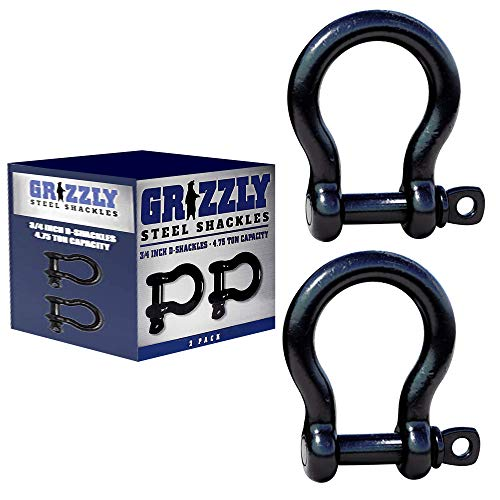 D Ring Shackles, 3/4 Inch, Black, 2 Pack – Heavy Duty Forged Steel with 4.75 Ton Capacity – Ideal for Jeeps, ATV's, Trucks to use with Recovery,Towing, Snatch Straps,Snatch Block,Tree Savers