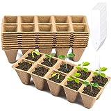 WXJ13 - Confezione da 10 vassoi biodegradabili per piantine, vasi di torba, con 24 etichet...