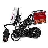 OUKANING Juego de faros traseros LED de 12 V para automóviles, camiones, furgonetas, remolques, iluminación trasera, iluminación de remolque, conector de 7 pines, 2 unidades (estilo 1)