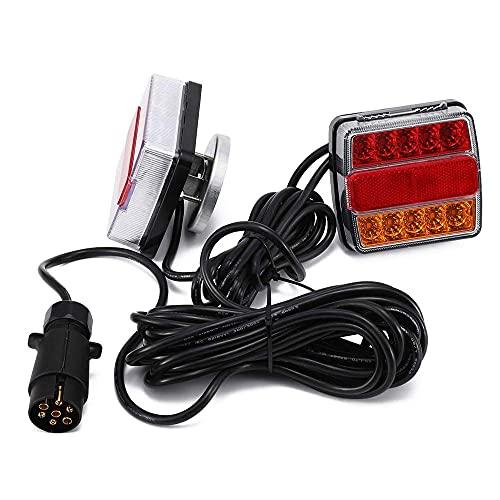 OUKANING 2 Stück LED Rückleuchten Set Heckleuchte 12V für PKW Anhänger Rücklicht Anhängerbeleuchtung Leuchten 7 poliger Stecker