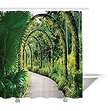 Yeuss Country Home Decor Collection, Künstliche Lichtbogen mit vielen Orchideen im Botanischen Garten Tropical Pants Park, Duschvorhang aus Polyestergewebe, Grün-Gelb