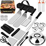 Kulurimi Griddle Accessories Kit, 20PCS Flat Top Grill Tools Set with Spatula, Basting Cover, Scraper, Bottle, Tongs, Egg Rings & Carry Bag, BBQ Accessories Grill for Men Women Outdoor Yard Camping