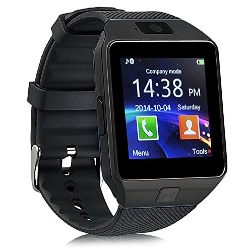 Smartwatch,Touchscreen Wrist Smart Phone Watch Sports Fitness Tracker with SIM SD Card Slot Camera Pedometer Compatible with Smartphones (Black)