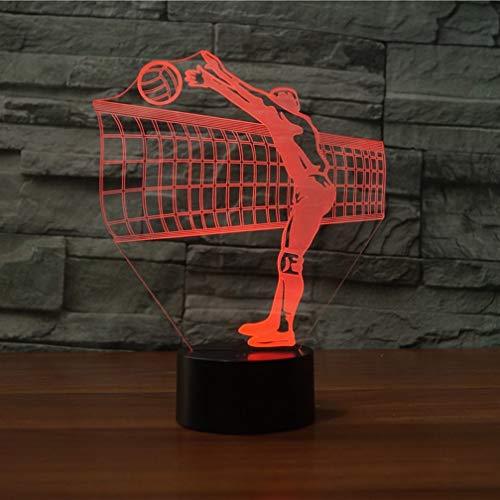 Ilusión óptica 3D Voleibol Luz de Noche 7 Colores que Cambian USB Poder Touch Switch Decor Lámpara LED Mesa Lámpara Niños Juguetes Cumpleaños Navidad Regalo