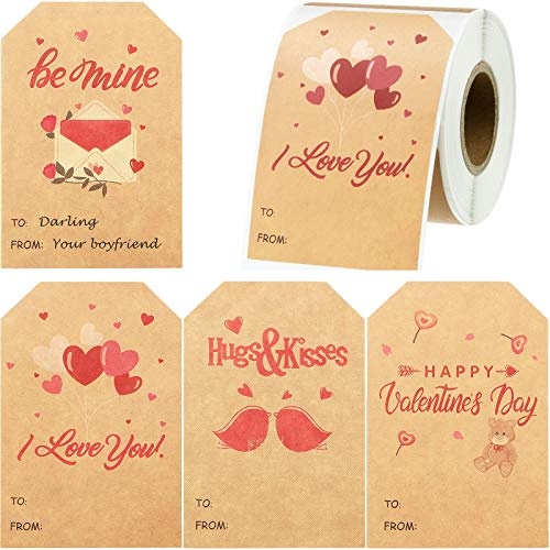 160 Pieces Valentine's Day Name Tags Stickers Heart Shape Natural Kraft Tags Stickers Valentine's Day Present Tags Adhesive Labels for Presents Easily Write Name on Present Box, 2 x 3 Inch, 4 Designs