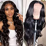 ISEE Hair Young 150% Density Brazilian Body Wave Lace Front Wigs Human Hair Glueless Lace Front Human Hair Wigs For Women Black Pre Plucked Unprocessed 8A Virgin Brazilian Hair Wig(18'' Natural Color)
