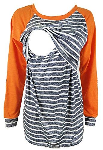 Chulianyouhuo Maternity Breastfeeding T-shirt Long-Sleeved Stripes Patchwork Nursing and Breastfeeding tops (Orange, XXL)
