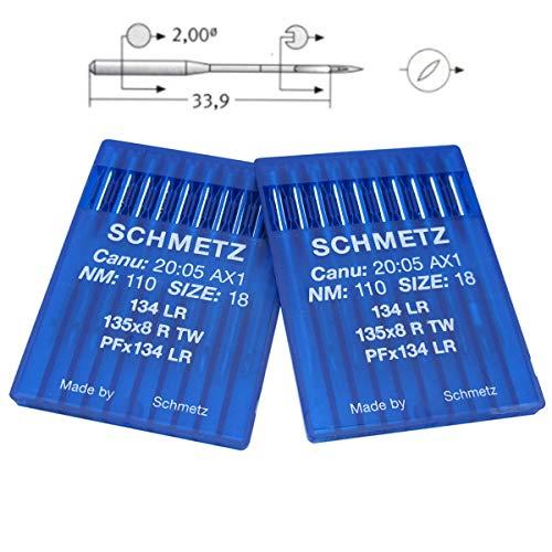 Schmetz Ago – 20 PS Schmetz Aghi per macchina da cucire industriali 134LR,PFX134LR NEEDLE SIZE:21/130