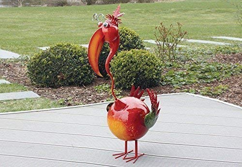 linoows Haut Qualité Figurine de Jardin Coloré Spirituel Oiseau, Fer Pur Main