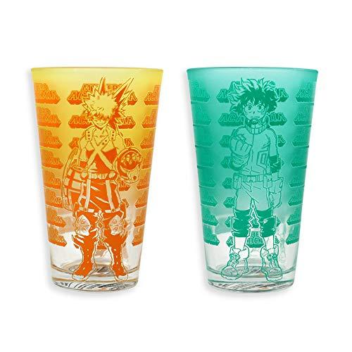 My Hero Academia Deku & Bakugo Beverage Glass set of 2, 16oz, Heroes, Izuku, Kachan, Detroit Smash, One for All, UA, Just Funky