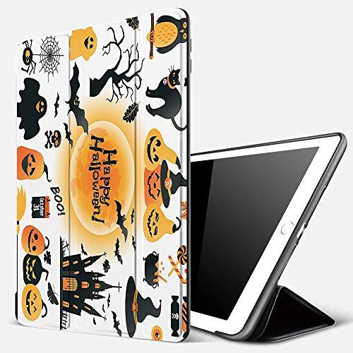 Funda iPad 10.2 Inch 2018/2019,Disfraces de Halloween, Patrón de Todos los Objetos del día de los Santos Búho Encantado y Truco o Trato Dulces, bl,Cubierta Trasera Delgada Smart Auto Wake/Sleep