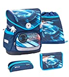 Belmil ergonomischer Schulranzen Set 4 -teilig für Jungen 1-4 Klasse Grundschule//Brustgurt/Magnetverschluss/Auto, Rennauto/Blau (405-41 Race Blue)