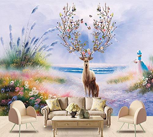 Fotomurales Alces de navidad300X200CM Decoración de Pared decorativos Murales moderna de Papel Pintado Sala Living Oficina Dormitorio