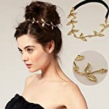 Jovono - Cadena para el pelo, accesorio para el pelo, bohemio, diadema de hojas doradas, para mujer
