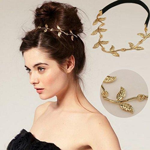 Jovono Chaîne de tête - Accessoire de cheveux bohème - Bandeau doré - Chaîne de feuille - Pour femme