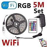 10M 5M RGB LED Strip 5M 5050 SMD Cinta de luz LED Cinta flexible Impermeable Controlador remoto IR DC 12V Adaptador de corriente Juego completo-Wifi RGB 5M Set_IP 20 Fuente de alimentación no imperm