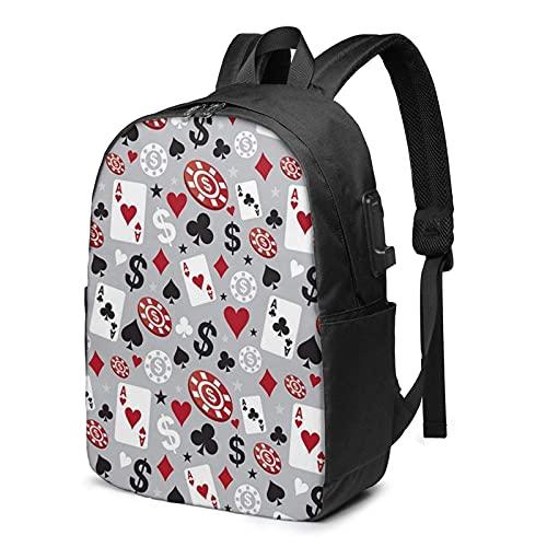 XCNGG Poker Casino Travel Laptop Rucksack, Rucksack mit USB-Ladeanschluss, für Männer Frauen Für 17 Zoll