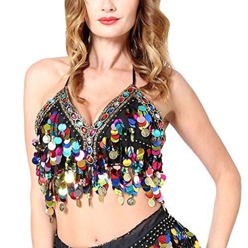 Sujetador de Danza del Vientre para Mujer Traje de Danza Oriental Lentejuelas Brillante Halter Crop Top de Baile Latino Disfraz Fiesta Actuación STRIR