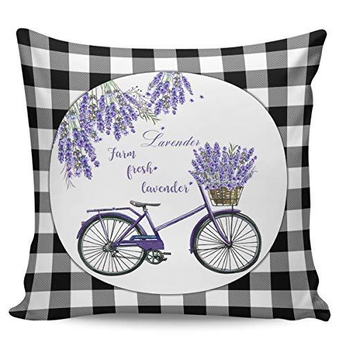 FAMILYDECOR Kissenbezüge weicher Kissenbezug 40,6 x cm dekorative für Couch, Sofa, quadratische Zuhause, Schlafzimmer, Männer & Frauen, Geschenk, lila Lavendel, Fahrrad, schwarz weiß kariert