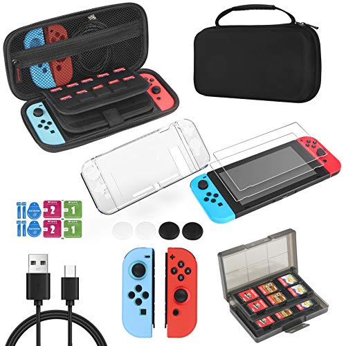 Accessories Kit & Case for Nintendo Switch, 18 IN 1 Accessory Bundles Includes Hard Shell Carrying Case, Glass Screen Protectors, Clear Case, Thumb Grip Caps, Game Card Case, USB Charging Cable