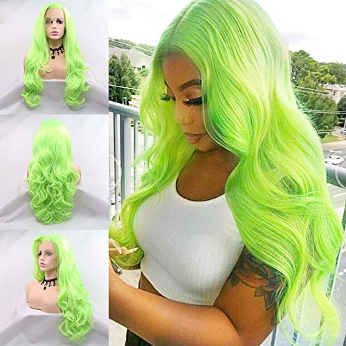 Karissa Hair Fluorescent Green Synthetic Lace Front Wigs for Women Preplucked Long Body Wave Pastel Green Wig with Baby Hair Cosplay Party Use 24inch