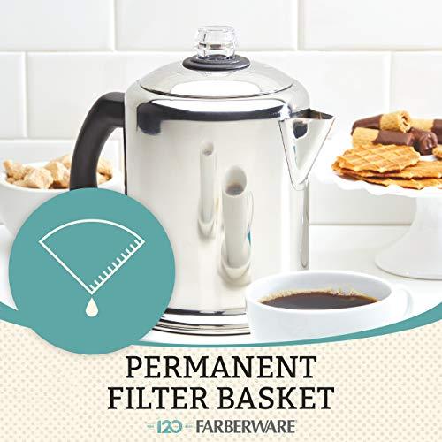 Farberware 47053 Classic Stainless Steel Yosemite 12-Cup Coffee Percolator, 12 Cup Coffee Maker, Silver