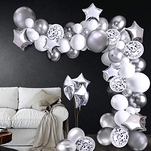 MOPVINPE Silver Balloon Arch Garland Kit, Silver Party Decoration, 90pcs Latex Confetti Balloons 10pcs Foil Star Balloon Tape Strips Tie Tools Flower Clips Tape for Boy Girl Man Woman Birthday Anniversary