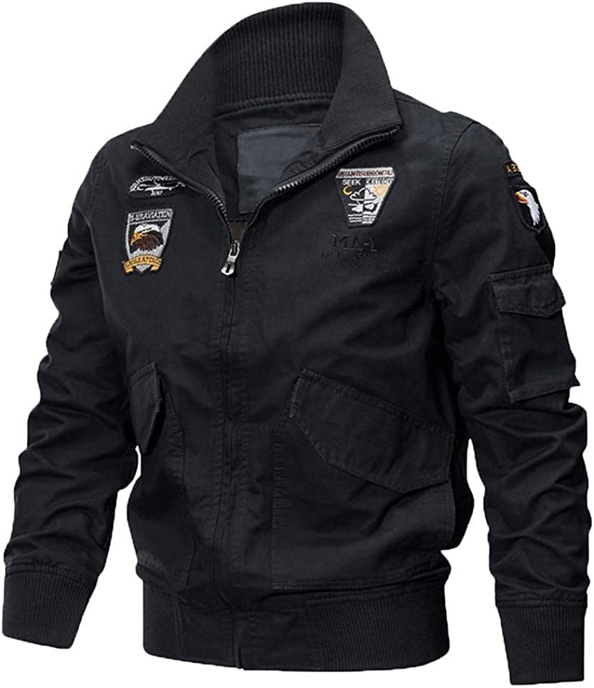 Men's Winter Coats Bomber Jackets Casual Stand Collar Zip-Up Motorcycle Outerwear