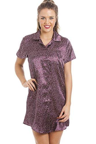Seidiger Satin Nachthemd Verschiedene Farben und Drucke für Damen von Camille 40 Purple Star